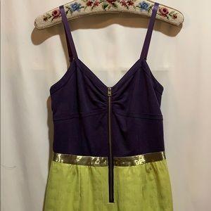 MARC NEW YORK DRESS SZ 4 plum/lime embossed fabric